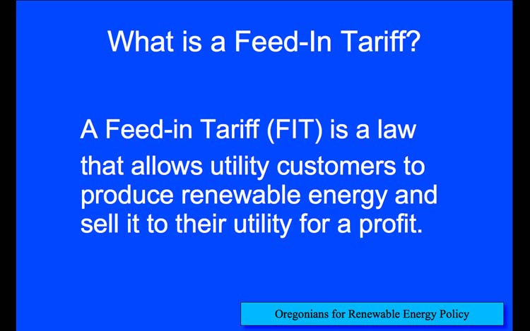 Introduction to Feed-in Tariffs, Slide 8